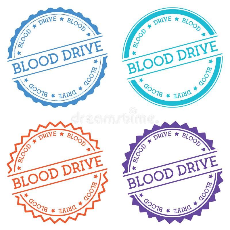 Blood drive badge isolated on white background. royalty free illustration
