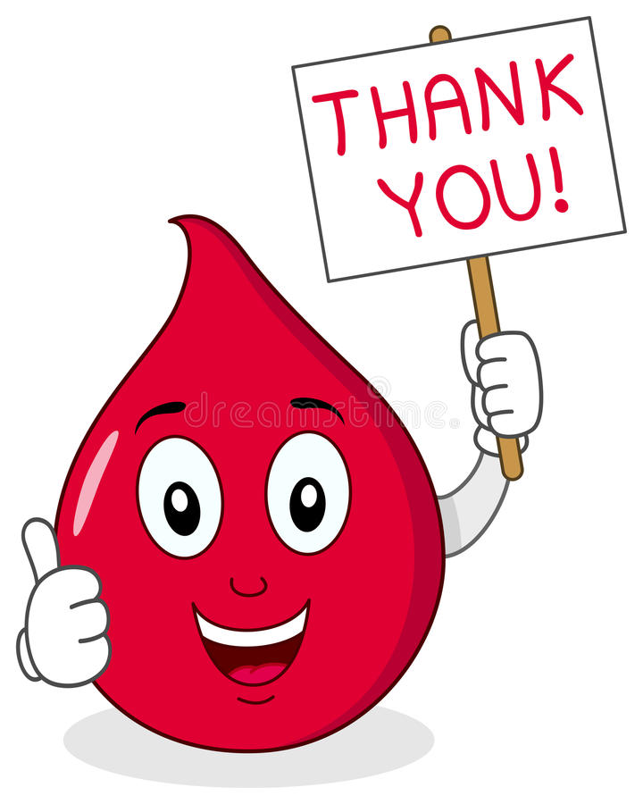 Blood Drop Holding Blood Donor Sign. A funny cartoon blood drop character with thumbs up and holding a sign with the written thank you, isolated on white royalty free illustration
