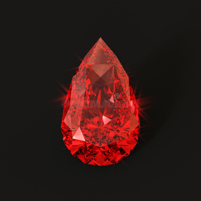 Blood drop shaped ruby. Pear shaped blood red gemstone with sparkling glares. Isolated unset ruby droplet shape vector illustration