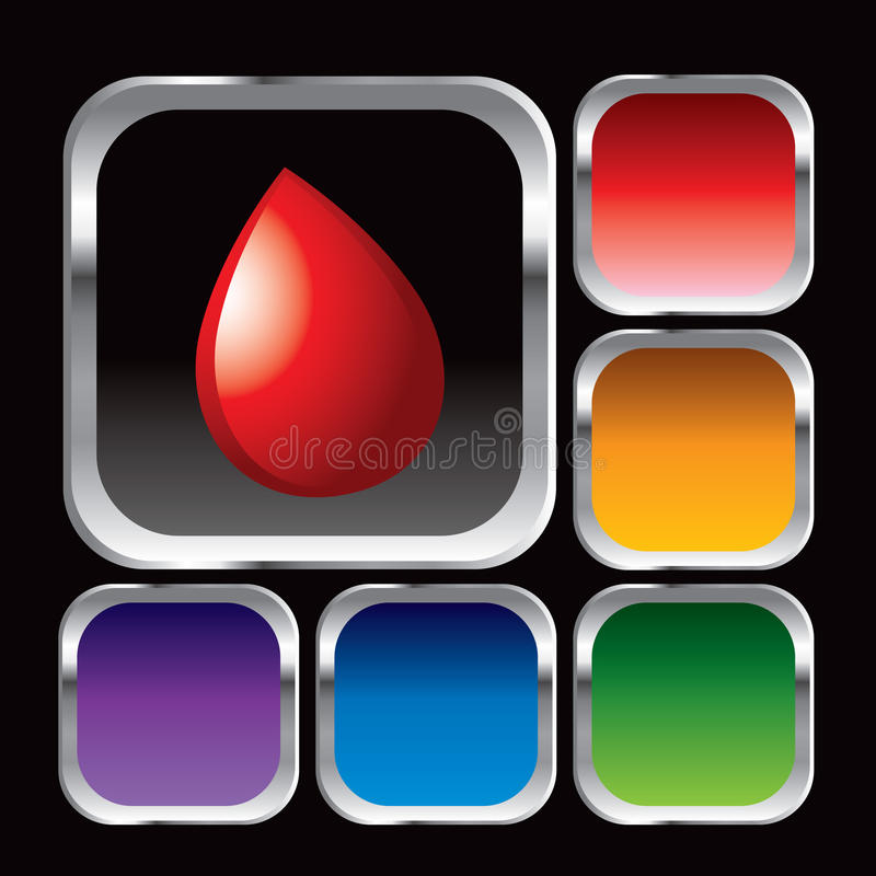 Blood droplet in square web buttons royalty free illustration