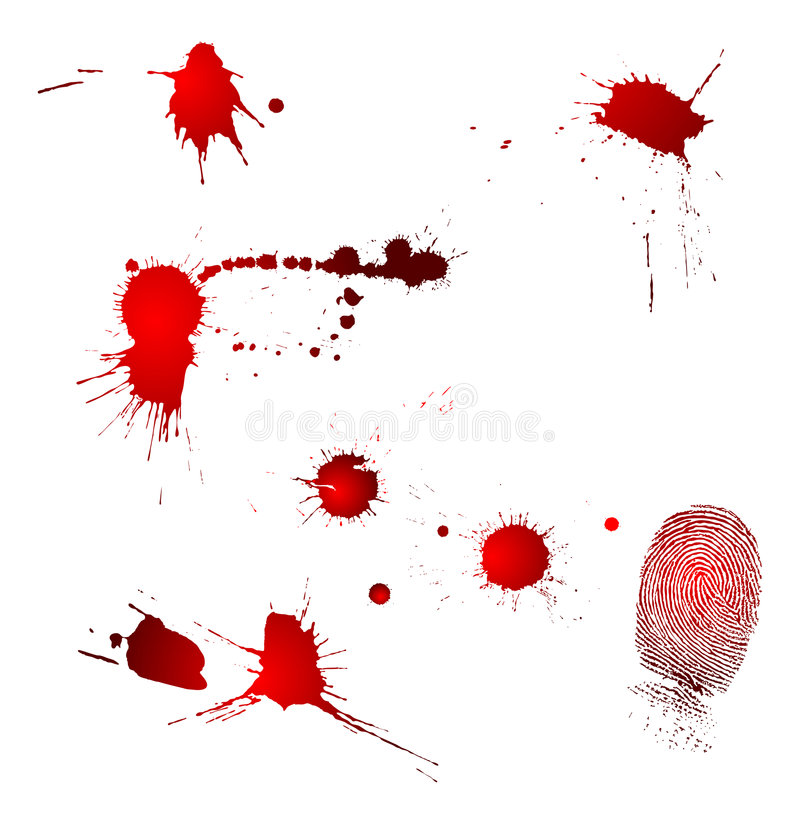 Blood drops and fingerprint. Very detailed fingerprint and blood drops, isolated on white background jpg, or Adobe Illustrator vector. Size and color can be