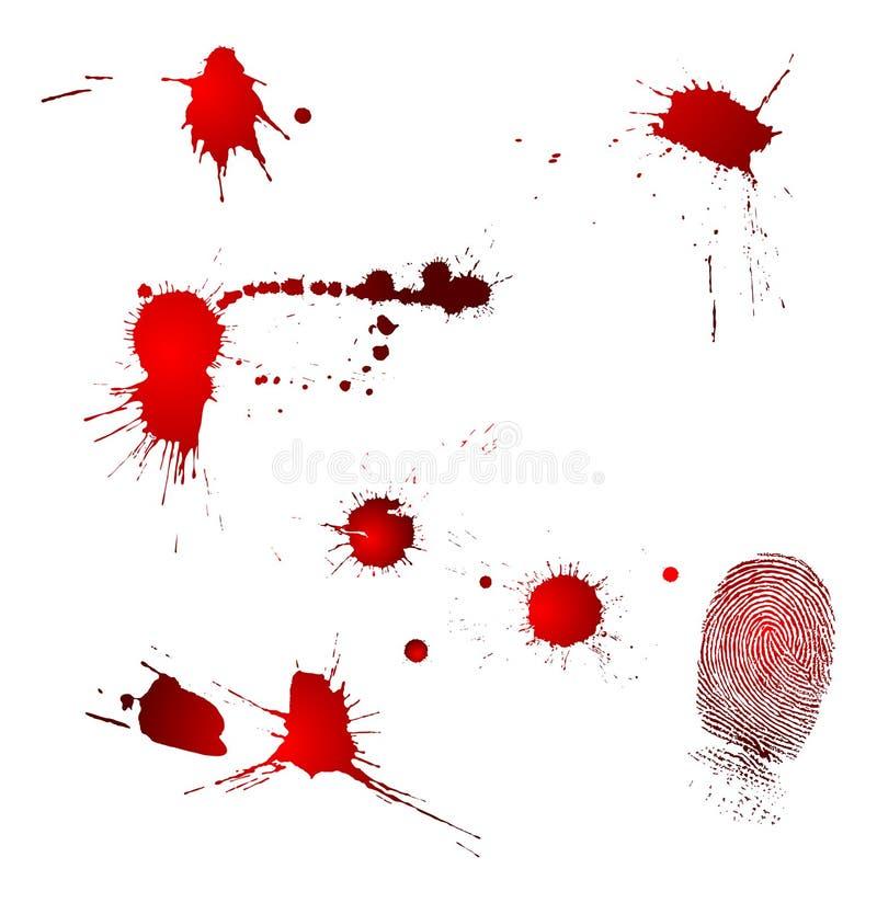 Blood drops and fingerprint royalty free illustration