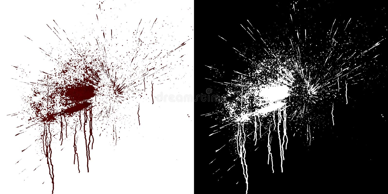 Blood flows on a white wall. Digital illustration with alpha matte to compose. 3d rendering. Computer simulation of splashes and blood flows on a white wall stock illustration
