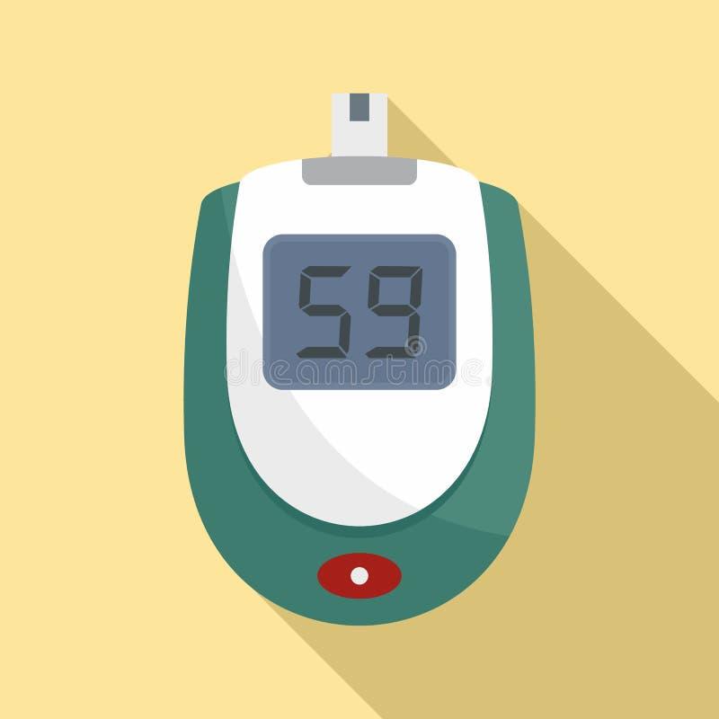 Blood glucose level icon, flat style stock illustration