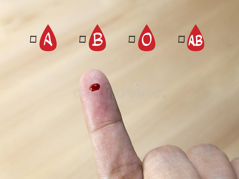 Blood group testing with blood group icon stock photos