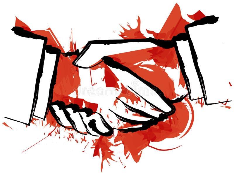 Blood hand shake royalty free illustration