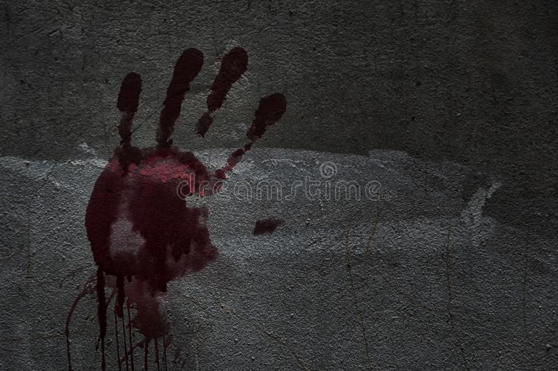 Blood of hand on a wall in an abandoned house them.The story about the murder. royalty free stock images