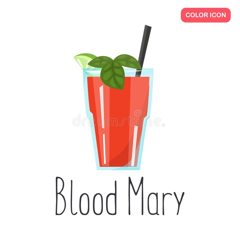 Blood Mary alcohol cocktail colo flat icon. For web and mobile royalty free illustration