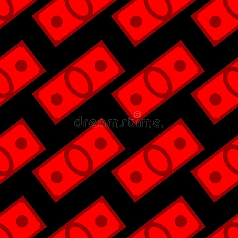 Blood money seamless pattern. Dollars on fear and war. Vector Ba stock illustration