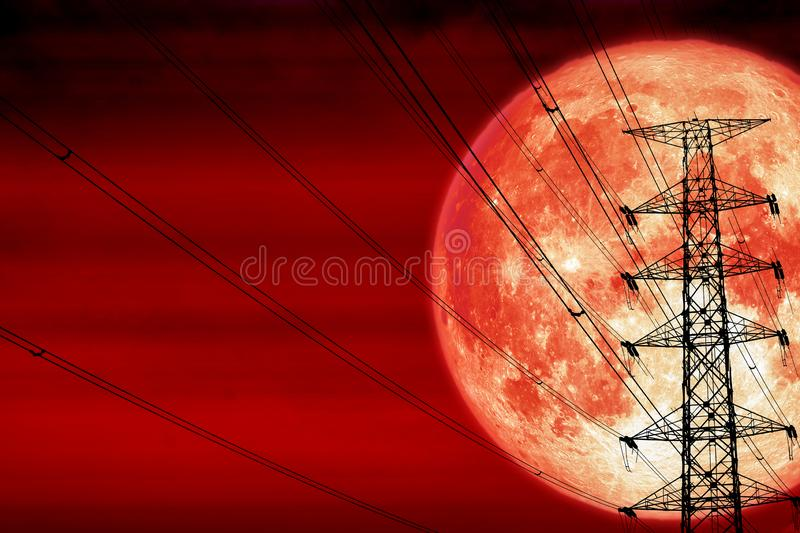 blood moon back silhouette power electric pole and electric line sky stock photo