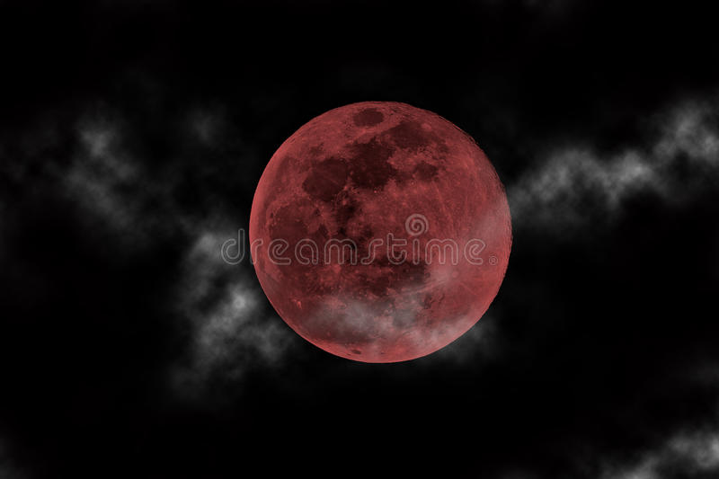 Blood moon. And clouds in the sky stock photography