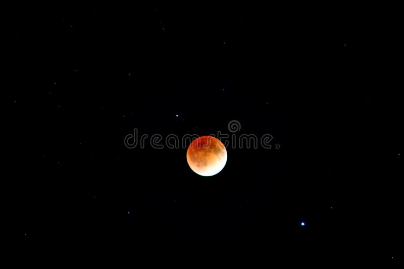 Blood moon eclipse. Blood moon depicted by eclipse from April '14 stock photography