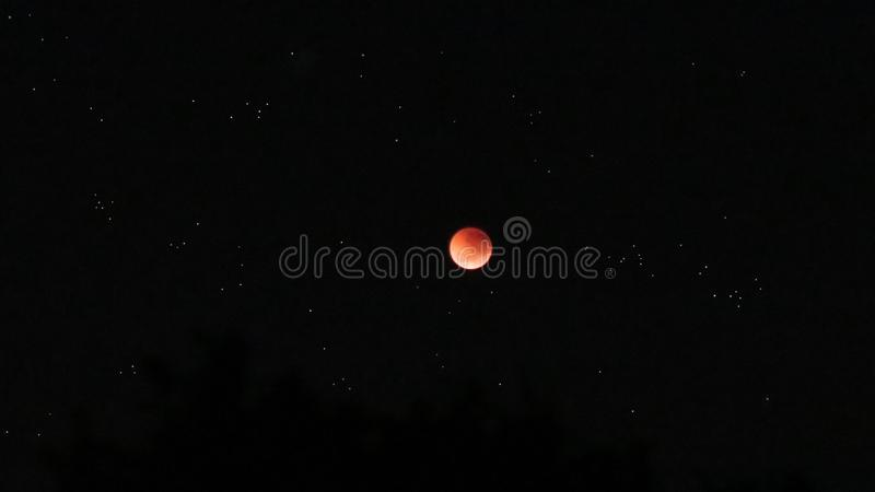 Blood Moon Eclipse. Taken from Brisbane, Australia 28th July 2018 5.53AM. Beautiful high quality photo of the blood moon eclipse royalty free stock photo
