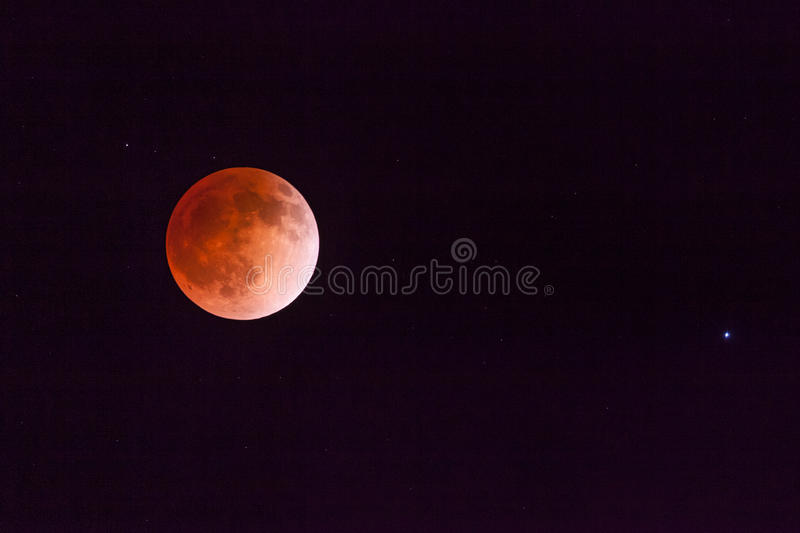 Blood moon. The full moon turns blood red as a result of a full lunar eclipse royalty free stock images