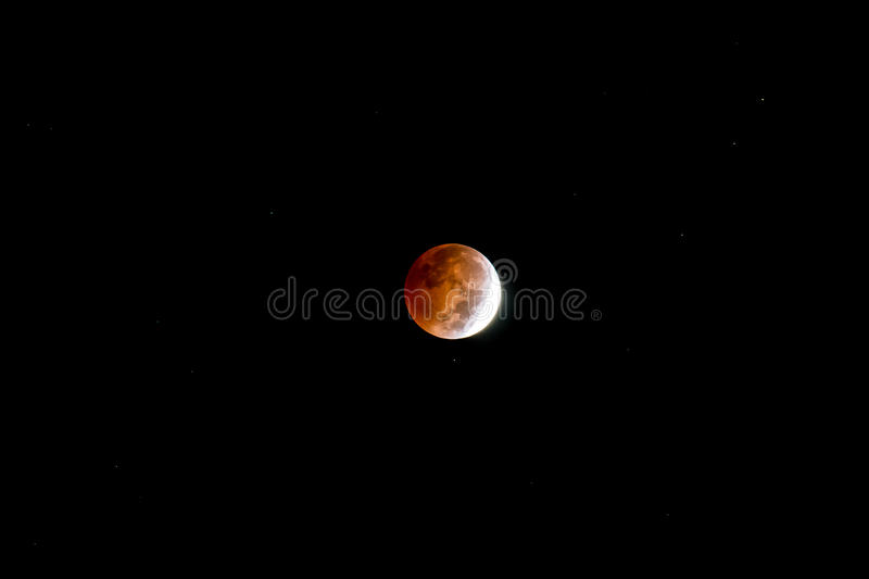 Blood Moon. Lunar eclipse as seen in the night sky on October 7 stock images