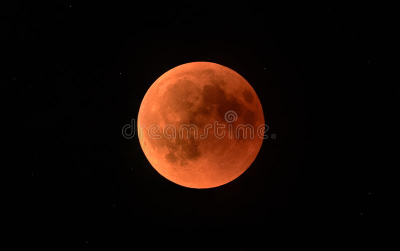 Blood moon during a lunar eclipse royalty free stock photo