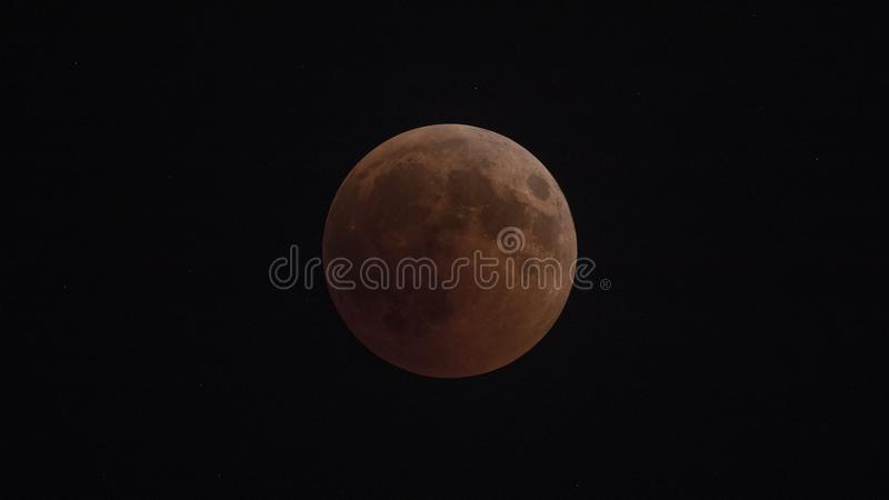 Blood Moon. Shot in Izmir, Turkey at the time of eclipse of the moon stock photo