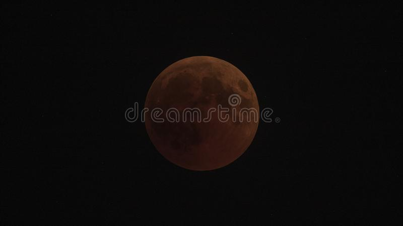 Blood Moon in The Sky. Blood moon shot in Izmir, Turkey at the time of eclipse of the moon stock image