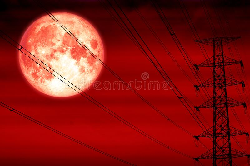 Blood moon silhouette power electric pole and electric line sky. Elements of this image furnished by NASA royalty free stock photography
