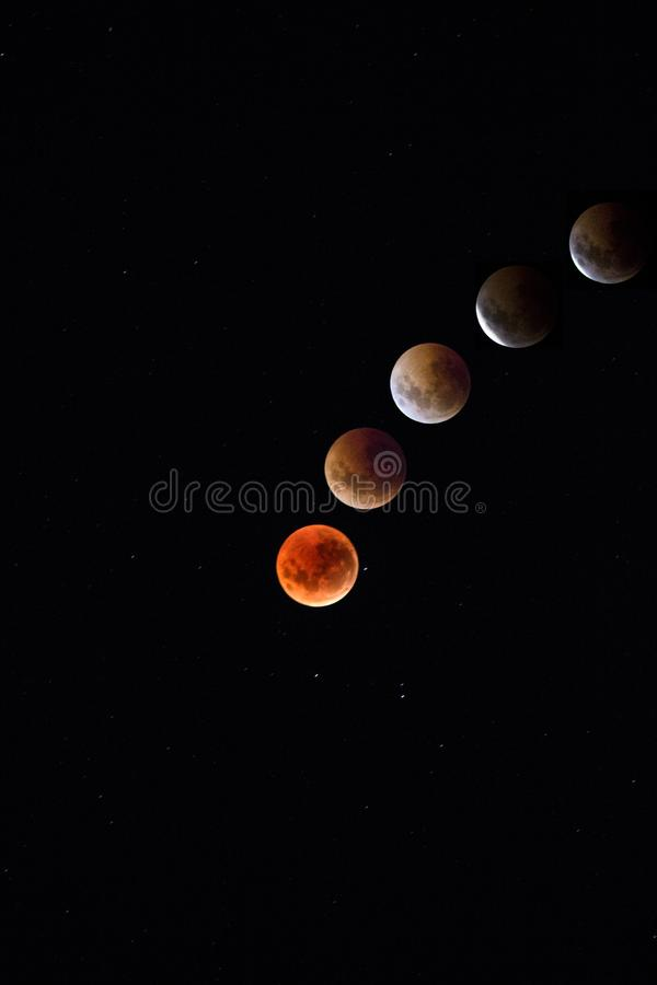Blood moon. Stages in space and the world royalty free stock photo