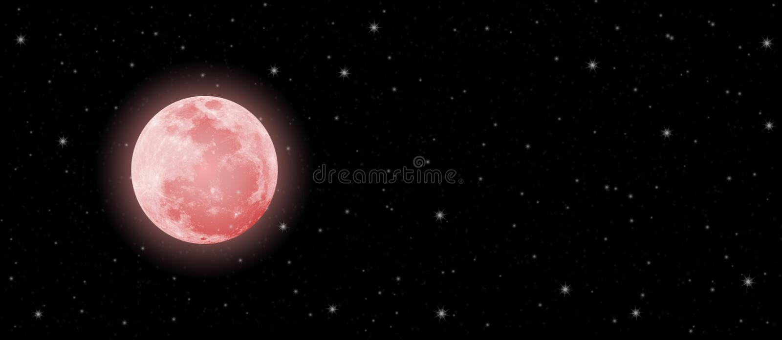Blood Moon and Twinkle Stars in Dark Night Sky Banner stock photos