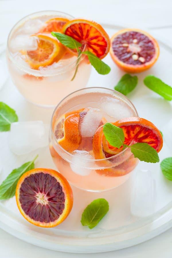 Blood orange cocktail with slices of orange royalty free stock photo
