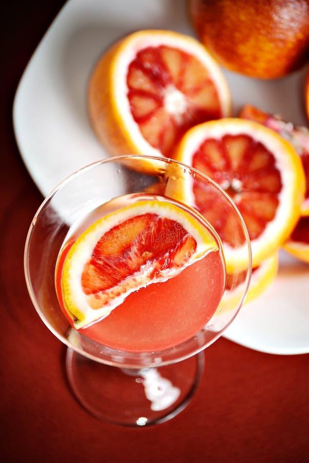 Blood orange martini. And slices of blood orange stock image