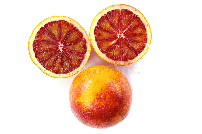 Blood orange with slices stock photos