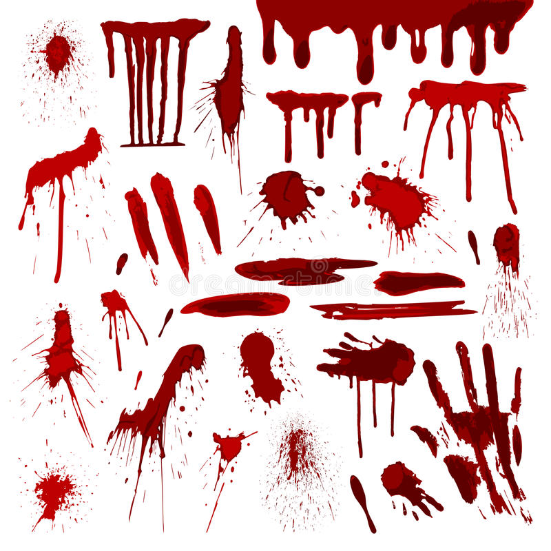 Blood or paint splatters splash spot red stain blot patch liquid texture drop grunge abstract dirty mark vector. Set of various blood or paint splatters splash vector illustration