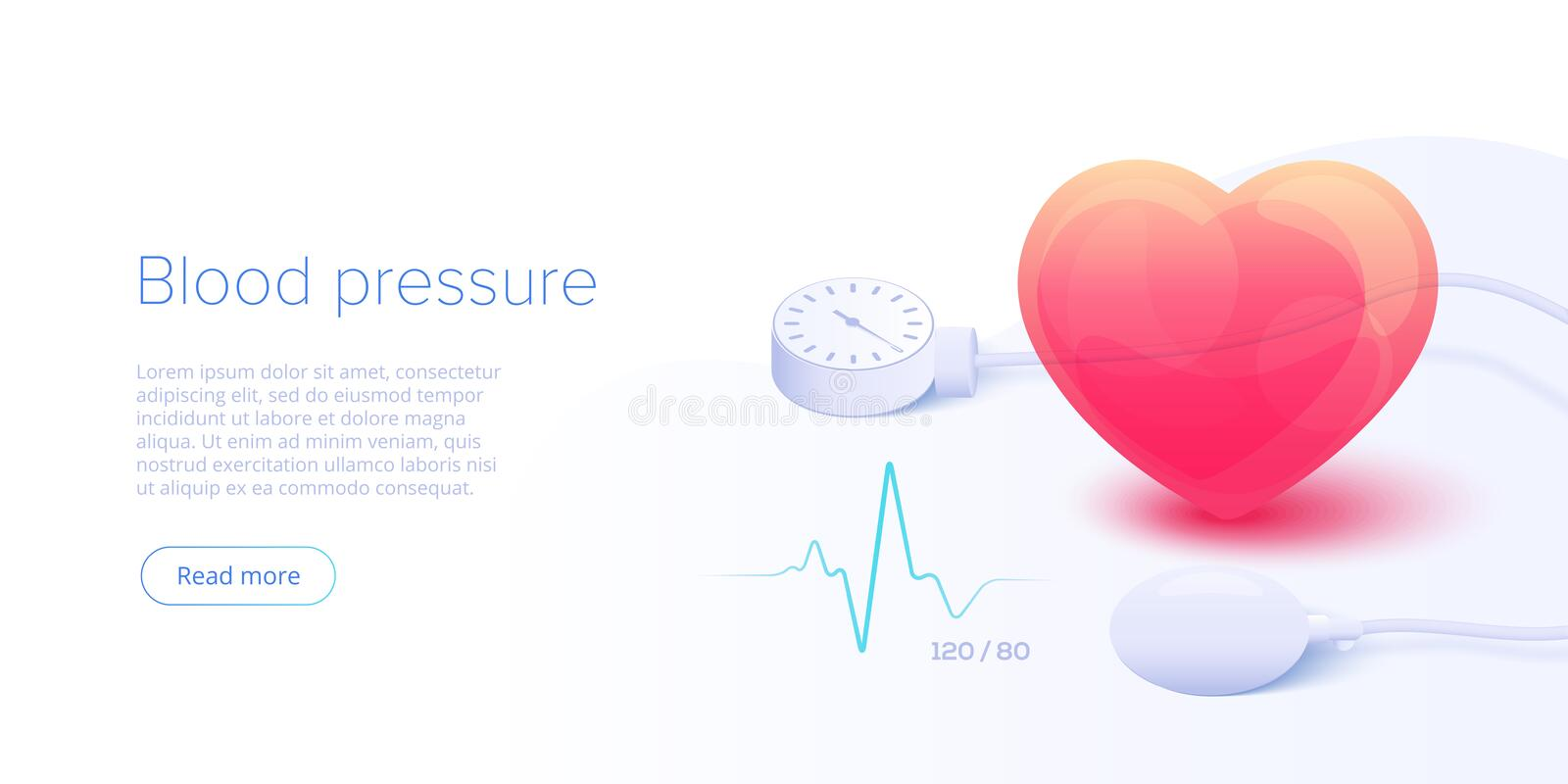 Blood pressure concept in isometric vector illustration. Arterial pressure measuring or checking machine. Medical sphygmomanometer vector illustration