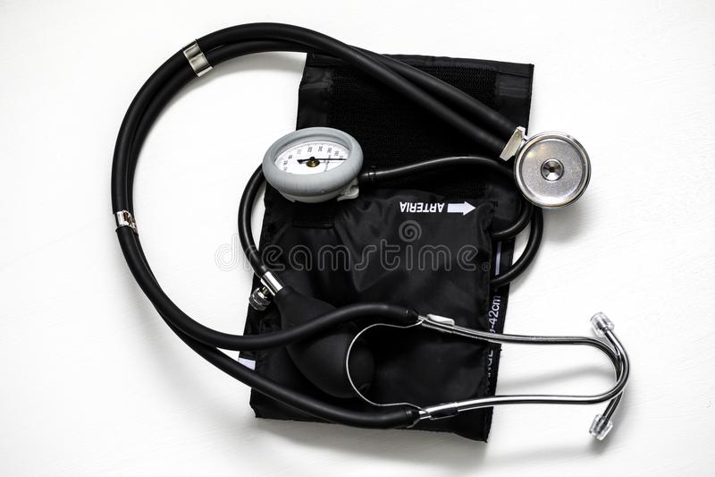 Blood Pressure Cuff. For medical exams and health care on a white background stock photography
