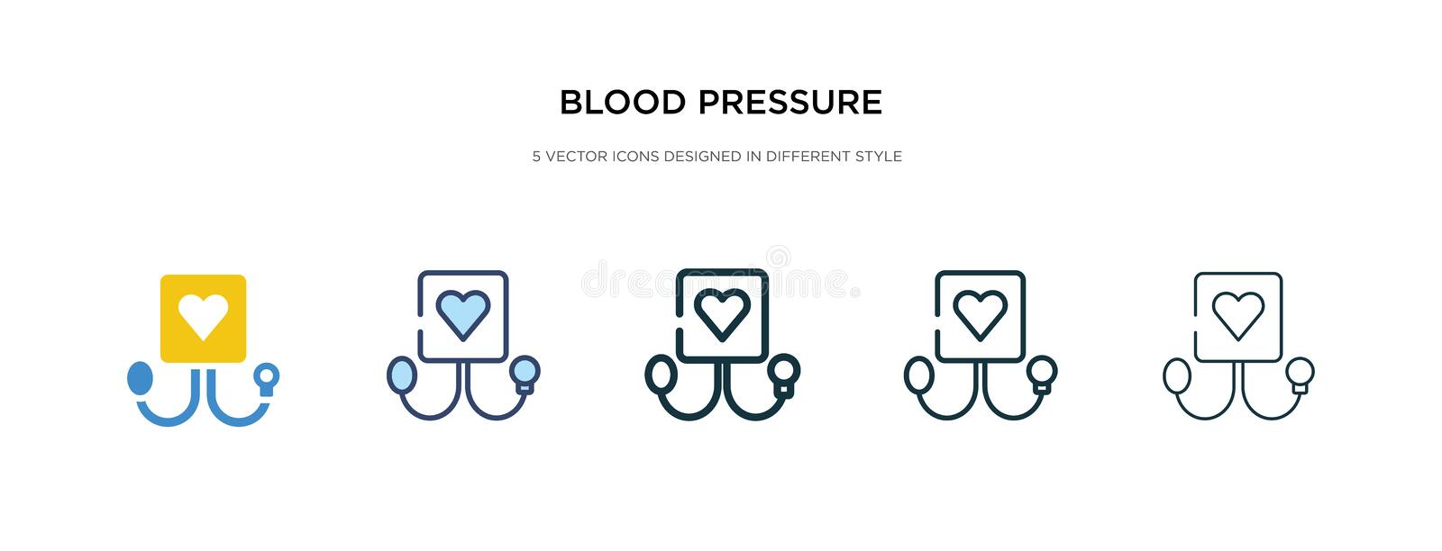 Blood pressure icon in different style vector illustration. two colored and black blood pressure vector icons designed in filled,. Outline, line and stroke stock illustration