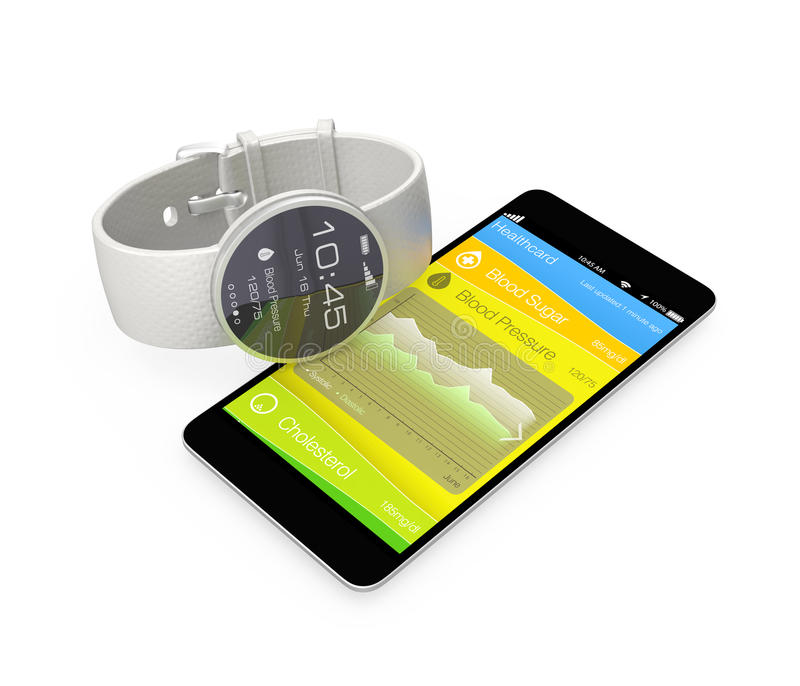 Blood pressure information synchronize from smart watch vector illustration