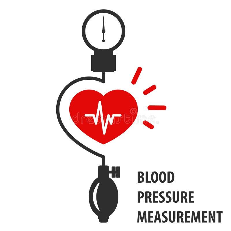 Blood pressure measurement icon - sphygmomanometer. Blood pressure measurement icon - heart and sphygmomanometer vector illustration