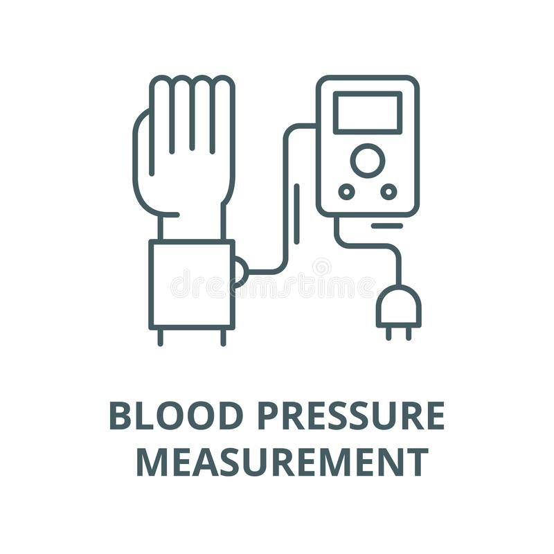 Blood pressure measurement vector line icon, linear concept, outline sign, symbol. Blood pressure measurement vector line icon, outline concept, linear sign royalty free illustration