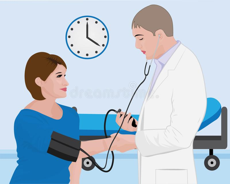 Blood pressure measuring  cardio exam  visit to a doctor stock illustration
