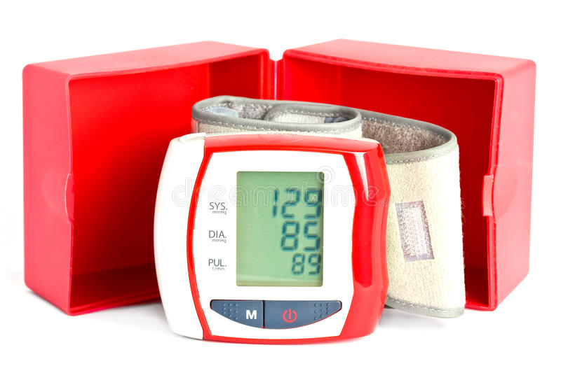 Blood pressure meter with a box stock images