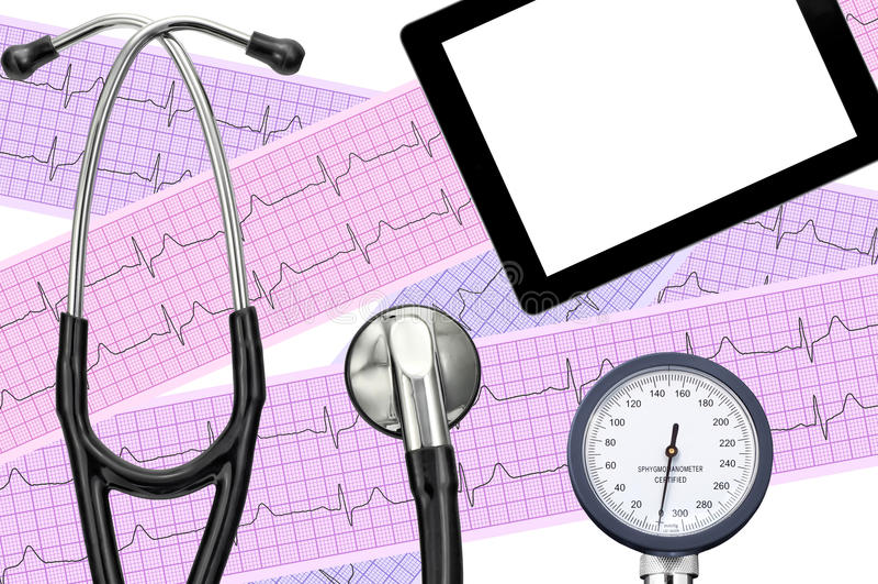 Blood pressure meter, digital tablet, electrocardiogram royalty free illustration
