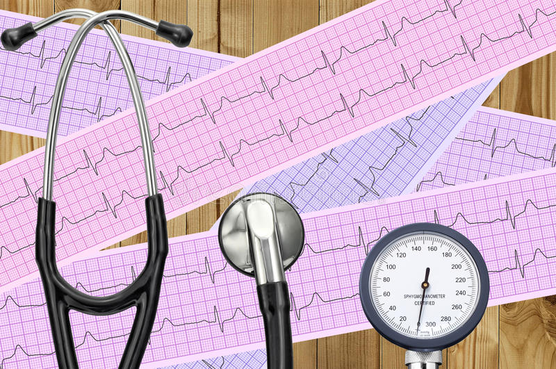 Blood pressure meter, digital tablet and stethoscope, on wooden stock photo