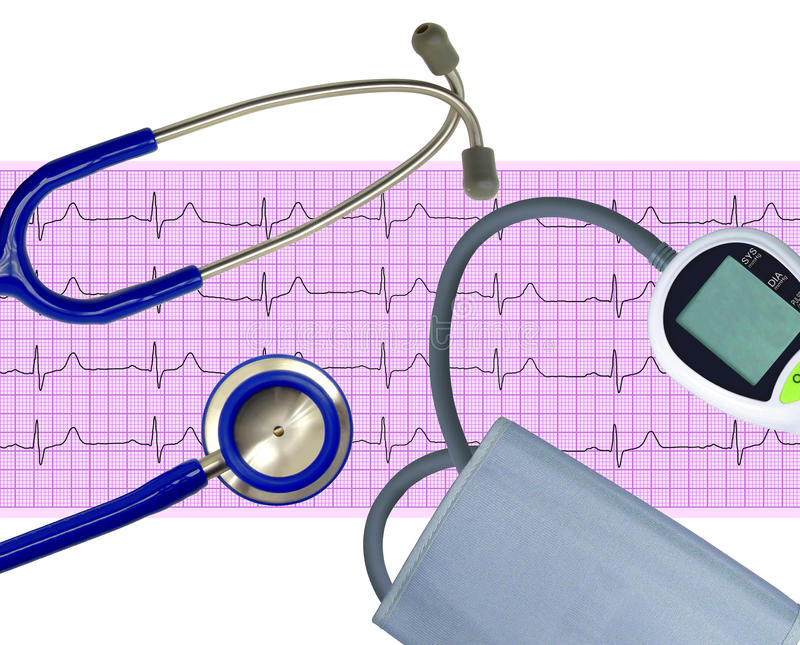 Blood pressure meter, electrocardiogram and stethoscope isolated royalty free stock photo