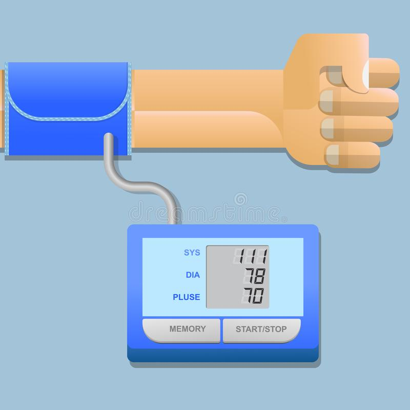 Blood pressure monitor and heart rate monitor with digital pressure gauge. royalty free illustration
