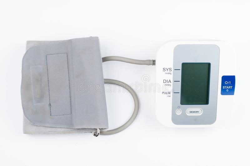 Blood pressure monitor isolated on white background. Medical equipment.Copy space. Diagnostic, test, check, heart, measure, measurement, electronic, digital royalty free stock photos