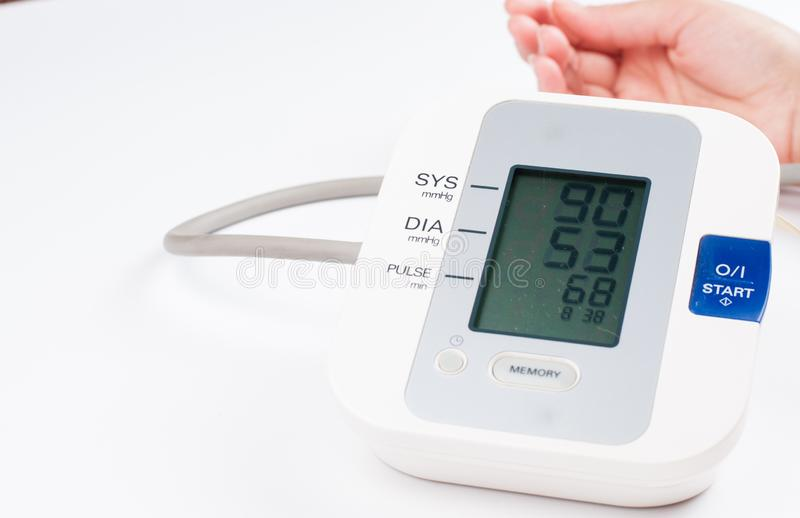 Blood pressure monitor isolated on white background. Medical equipment.Copy space. Diagnostic, test, check, heart, measure, measurement, electronic, digital royalty free stock images
