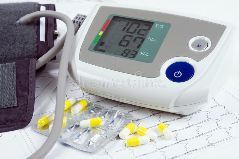 Download Blood Pressure Monitor, Tablets And ECG Stock Photo - Image: 18286542