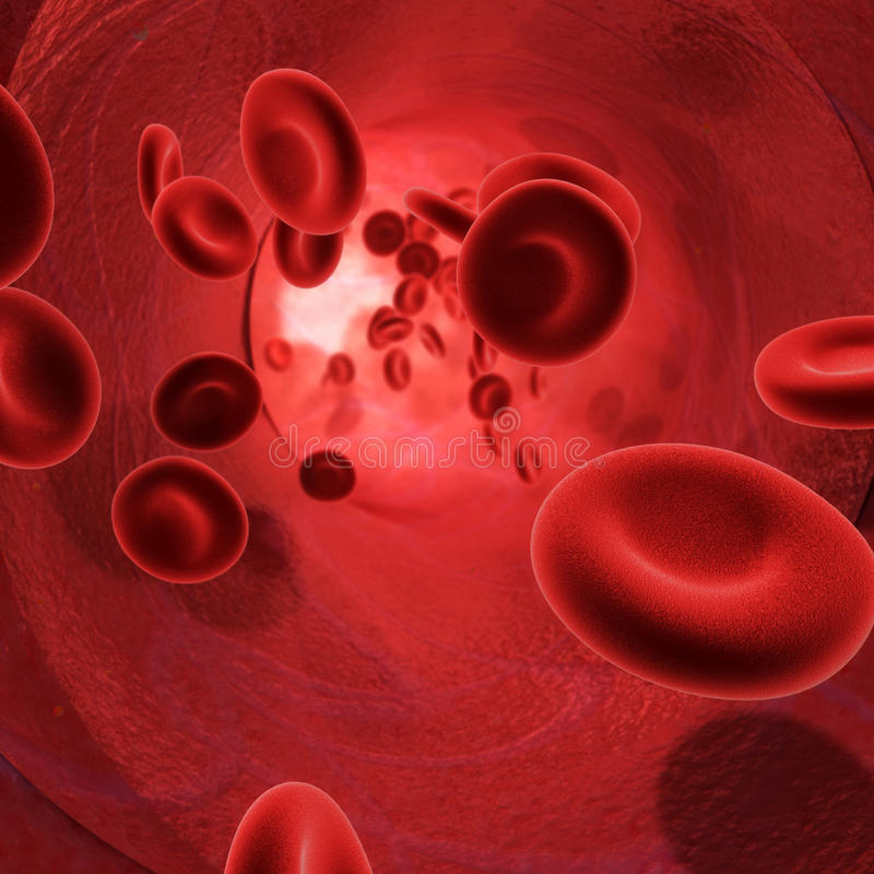 Blood(Red Globules). 3d image of the flow of blood inside an artery royalty free illustration