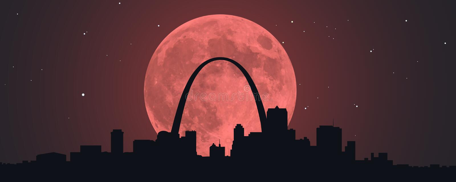 Blood Red Moon Over STL stock illustration