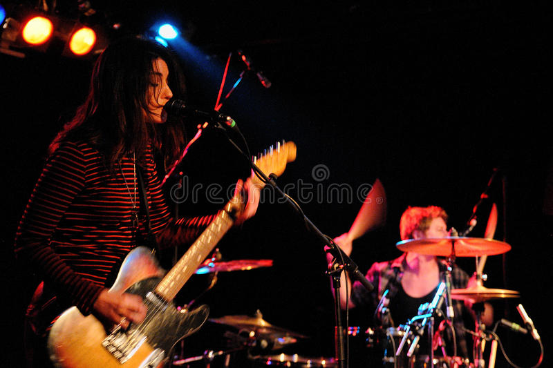 Blood Red Shoes, alternative rock duo from Brighton formed by Laura-Mary Carter and Steven Ansell, performs at Barcelona royalty free stock photo