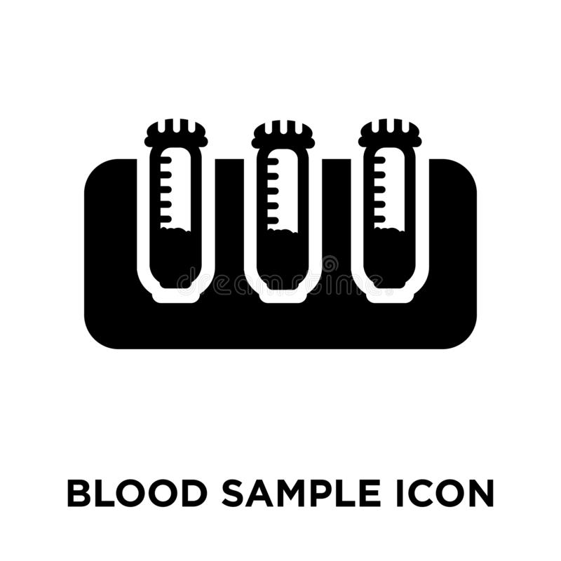Blood sample icon vector isolated on white background, logo concept of Blood sample sign on transparent background, black filled royalty free illustration