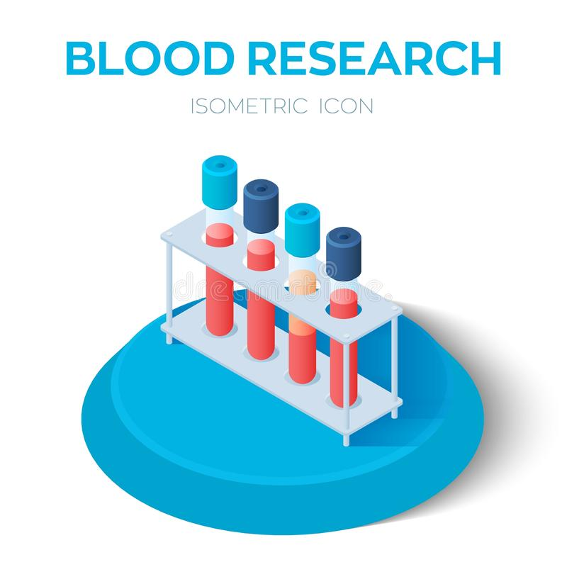Blood samples isometric icon. Blood research. Vacuum tubes for collecting blood samples in the laboratory. Medical equipment. vector illustration