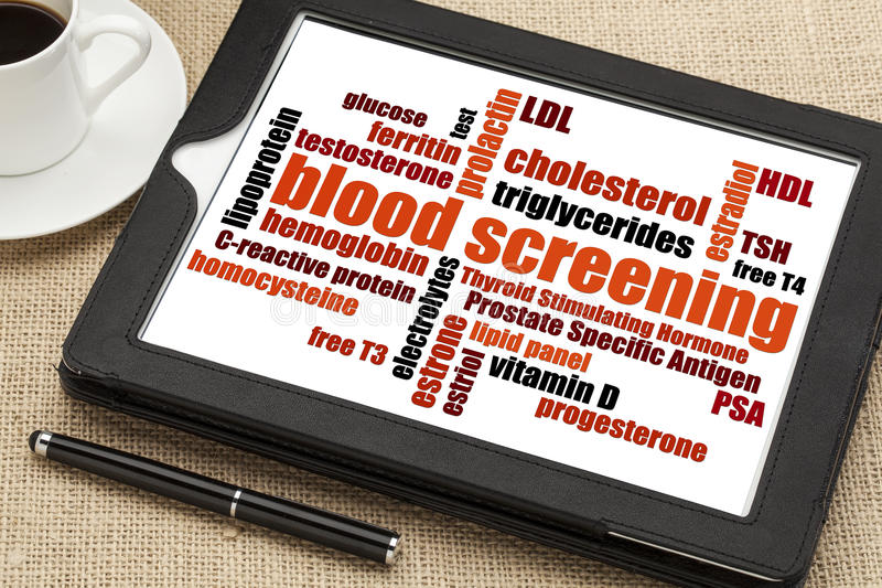 Blood screening word cloud royalty free stock photography